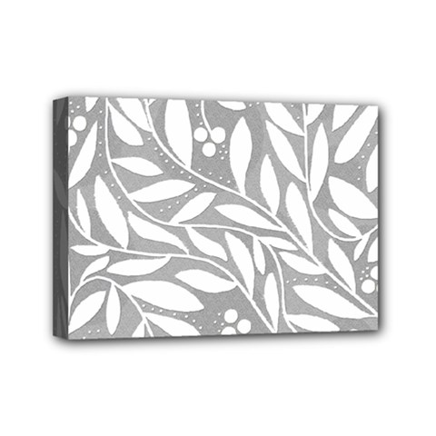 Gray and white floral pattern Mini Canvas 7  x 5