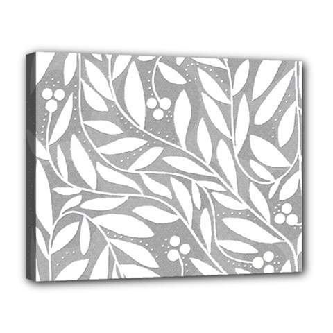 Gray and white floral pattern Canvas 14  x 11