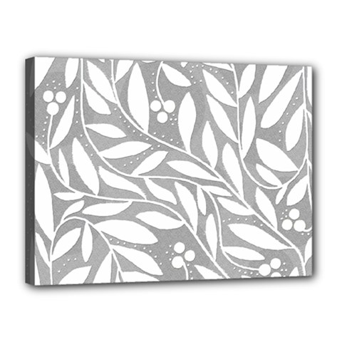Gray and white floral pattern Canvas 16  x 12