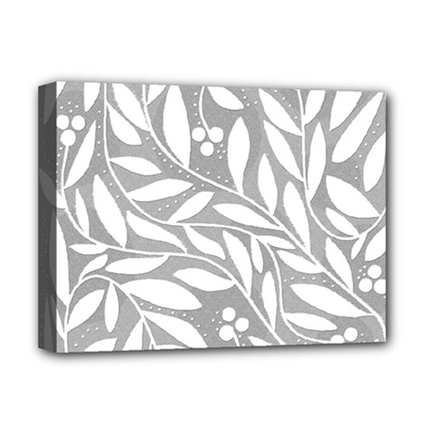 Gray and white floral pattern Deluxe Canvas 16  x 12