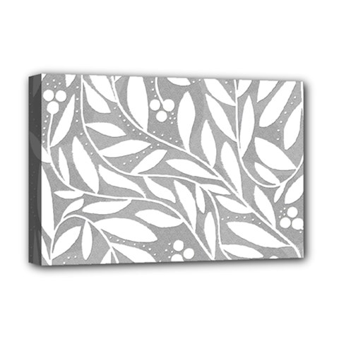 Gray and white floral pattern Deluxe Canvas 18  x 12