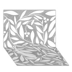 Gray and white floral pattern Heart Bottom 3D Greeting Card (7x5)