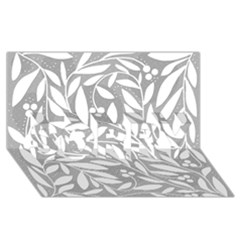 Gray and white floral pattern SORRY 3D Greeting Card (8x4)