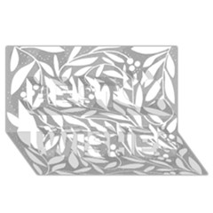 Gray and white floral pattern Best Wish 3D Greeting Card (8x4)