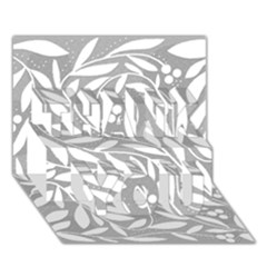 Gray and white floral pattern THANK YOU 3D Greeting Card (7x5)