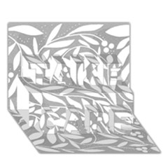 Gray and white floral pattern TAKE CARE 3D Greeting Card (7x5)