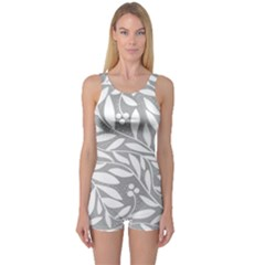 Gray and white floral pattern One Piece Boyleg Swimsuit
