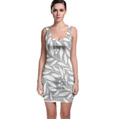 Gray and white floral pattern Sleeveless Bodycon Dress