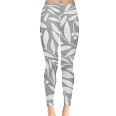 Gray and white floral pattern Leggings
