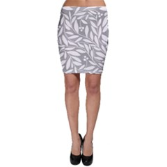 Gray and white floral pattern Bodycon Skirt
