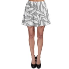 Gray and white floral pattern Skater Skirt