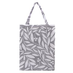 Gray and white floral pattern Classic Tote Bag