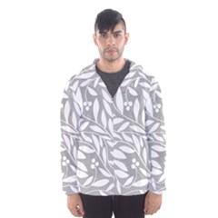 Gray and white floral pattern Hooded Wind Breaker (Men)