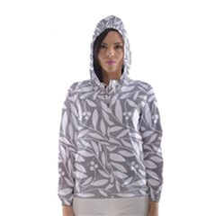 Gray and white floral pattern Hooded Wind Breaker (Women)