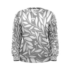 Gray and white floral pattern Women s Sweatshirt