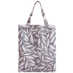 Gray and white floral pattern Zipper Classic Tote Bag