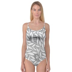 Gray and white floral pattern Camisole Leotard