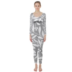 Gray and white floral pattern Long Sleeve Catsuit