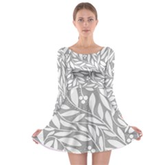 Gray and white floral pattern Long Sleeve Skater Dress
