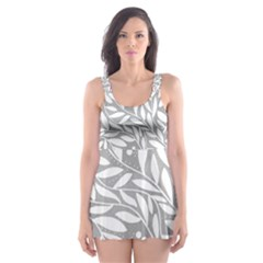 Gray And White Floral Pattern Skater Dress Swimsuit