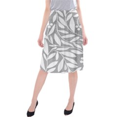 Gray And White Floral Pattern Midi Beach Skirt