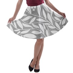 Gray and white floral pattern A-line Skater Skirt