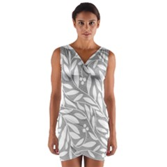 Gray and white floral pattern Wrap Front Bodycon Dress