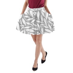 Gray and white floral pattern A-Line Pocket Skirt