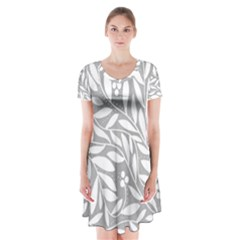Gray and white floral pattern Short Sleeve V-neck Flare Dress