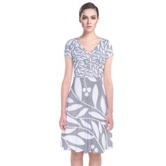 Gray and white floral pattern Short Sleeve Front Wrap Dress