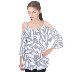 Gray and white floral pattern Flutter Tees
