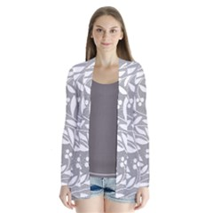 Gray And White Floral Pattern Drape Collar Cardigan