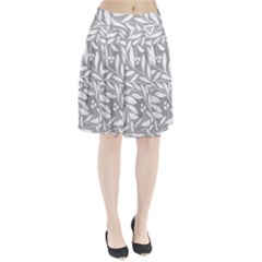 Gray And White Floral Pattern Pleated Skirt