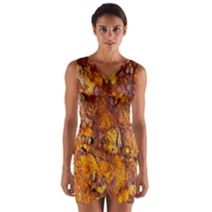 Rusted Metal Surface Wrap Front Bodycon Dress