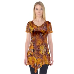 Rusted Metal Surface Short Sleeve Tunic