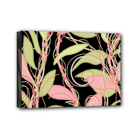 Pink and ocher ivy Mini Canvas 7  x 5
