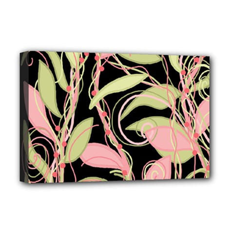 Pink and ocher ivy Deluxe Canvas 18  x 12