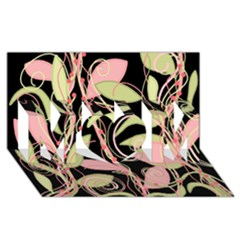 Pink and ocher ivy MOM 3D Greeting Card (8x4)