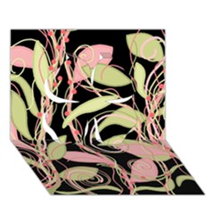 Pink and ocher ivy Clover 3D Greeting Card (7x5)