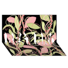 Pink and ocher ivy BEST BRO 3D Greeting Card (8x4)
