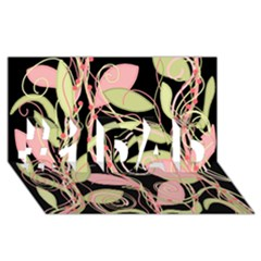 Pink and ocher ivy #1 DAD 3D Greeting Card (8x4)