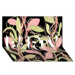 Pink and ocher ivy PARTY 3D Greeting Card (8x4)
