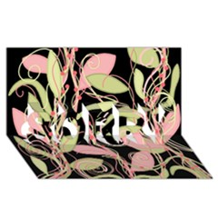 Pink and ocher ivy SORRY 3D Greeting Card (8x4)