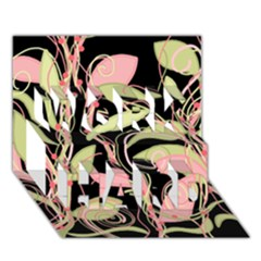 Pink and ocher ivy WORK HARD 3D Greeting Card (7x5)