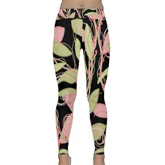 Pink and ocher ivy Yoga Leggings