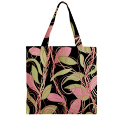 Pink and ocher ivy Zipper Grocery Tote Bag