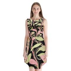 Pink And Ocher Ivy Sleeveless Chiffon Dress