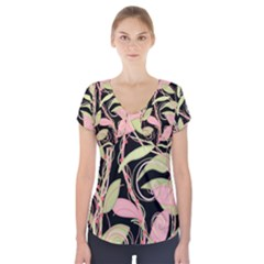 Pink And Ocher Ivy Short Sleeve Front Detail Top