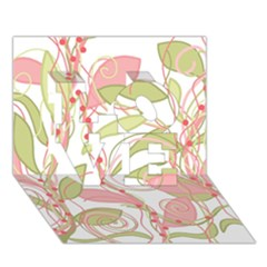 Pink and ocher ivy 2 LOVE 3D Greeting Card (7x5)