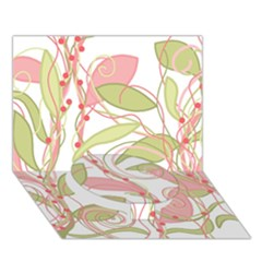 Pink and ocher ivy 2 Circle Bottom 3D Greeting Card (7x5)